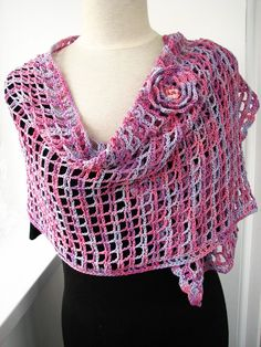 Crochet shawl lace wrap crocheted scarf shoulder wrap by SixSkeins | Craft Juice