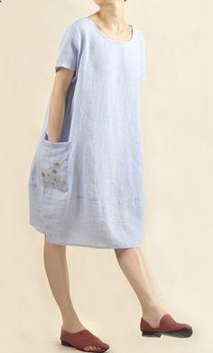 ef049e9269 Women Blue Plus Size Shirt Dresses Bat Sleeve Summer Shirt Dresses ...