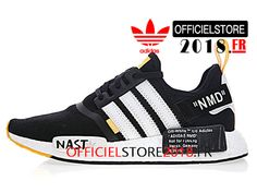 size 40 dc7b7 94296 Off-White x Adidas NMD R1 Boost Chaussures Prix Pas Cher Pour Homme Noir  Blanc