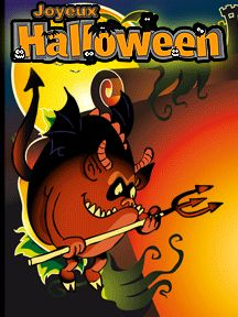 A imprimer pour Halloween, une carte d'invitation avec l'image d'un diablotin