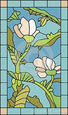 Stained glass template with magnolia flowers and plant elements
