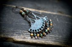 rustic earrings • boho • blue patina fan chandelier • cascade of African turquoise and Jasper • wire wrapped • bohemian fan • earthy fringes by entre2et7 on Etsy