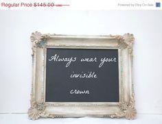 SALE SALE Shabby chic chalkboard frame ornate by Lollipopfigurine