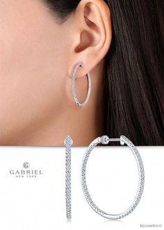 6486974f6 These luminous inside-out hoop earrings are lined front and back with  shimmering 1.04ct