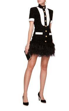 This **Balmain** Feather Hem Tweed Dress features a dropped waist with feather embellished hem and contrast bib and trim. Tweed Outfit, Tweed Dress, Tv Show Outfits, Cool Outfits, Winter Fashion Outfits, Fashion Dresses, Girl Fashion, Womens Fashion, Fashion Design