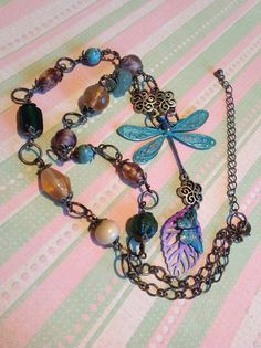 Dragonfly and butterfly beaded necklace £30.00