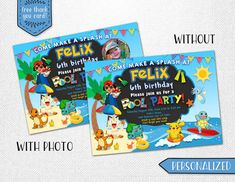 Pokemon pool invitation Pokemon pool party by InstantBrightParty