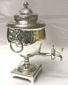 Georgian Tea Urn in Old Sheffield Plate (Sheffield). Not sure when this would be used vs. a teapot, or how rich you had to be to have one, but it's cute!