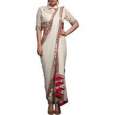 Buy Neeta Lulla Off White Saree Drape With Blouse & Fitted Pants online in India at best price.This ensemble comprises of off-white embellished blouse with mirror and pearl embroidery, matching thick Drape Sarees, Saree Draping Styles, Saree Styles, Drape Gowns, Draped Dress, Saree With Pants, Saree Gown, Dhoti Saree, Chikankari Suits