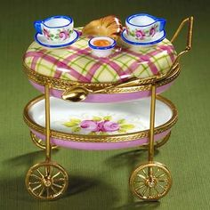 Limoges French breakfast cart with croissants box