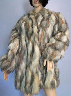 Vintage Fabulous Fur Coat.  Vegan Fur Coat.  by MISSVINTAGE5000