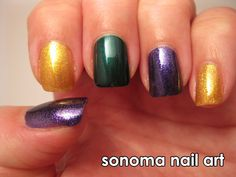 Sonoma Nail Art: Mardi Gras Nails check out www.MyNailPolishObsession.com for more nail art ideas.