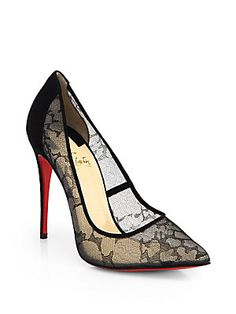 lace is so feminine and flirty  Christian Louboutin Pigalace 100 Pumps