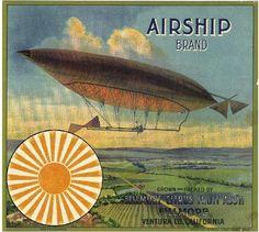 Fillmore Airship Blimp Orange Citrus Fruit Crate Box Label Advertising Art Print