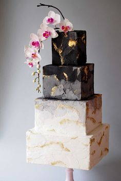 Black, white and grey wedding cake - The Frostery