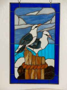 Stained glass Seagull pair - 20x24 [seagullpair] - $145.00 : Glass Moose Cart, handcrafted glass, beads/supplies, jewelry, wood & metal art, signs