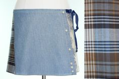Blue Upcycled Wrap Mini Chambray Mini Skirt by CharleyGirlSkirts