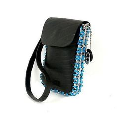 123381fc22fc Handmade Recycled Tire and Soda Pop Can Top Smartphone Bag - Blue