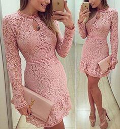 Vestido Renda Rosa Cod1129