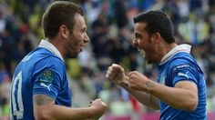 #euro2012 Antonio #DiNatale celebrates his goal with Antonio #Cassano