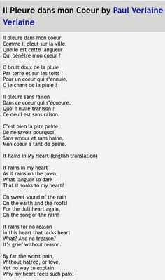 "My other favorite poem: "" Il pleure dans mon coeur "" - Paul Verlaine French Poems, French Quotes, Google Translate, Paul Verlaine, French Lessons, French Class, Poetry Day, Words Quotes, Sayings"
