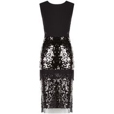 Bcbg Maxazria Reyna Sequinned Lace Dress ($300) ❤ liked on Polyvore featuring dresses, black, metallic dress, sequin cocktail dresses, special occasion dresses, sequin dresses and sequin evening dresses