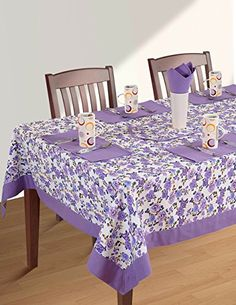 ShalinIndia Square Tablecloth 60 X 60 Inch for 4 Seater Center or Dining Table in Indian Cotton Fabric Purple Border Floral Rectangle Table, Table Accessories, Table Linens, Soft Furnishings, Table Runners, Printed Cotton, Shabby Chic, Floral Prints, Dining Table