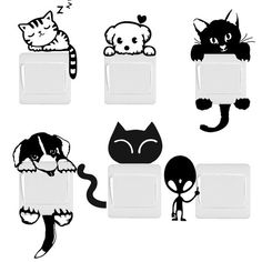 DIY Funny Cute Cat Dog Switch Stickers Wall Stickers Home Decoration Bedroom Parlor Decoration hot - affordable home livingroom farmhouse decoration ideas Wall Stickers Dogs, Bedroom Stickers, Wall Decals, Funny Stickers, Wall Art, Funny Cute Cats, Funny Cats And Dogs, Diy Funny, Funny Ideas