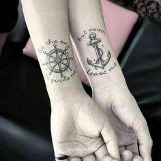 Reduzierte T-Shirts für Damen - compass tattoos Bff Tattoos, Tattoos Para Casais, Partner Tattoos, Anklet Tattoos, Tattoos For Lovers, Neue Tattoos, Friend Tattoos, Body Art Tattoos, Tattoos For Guys