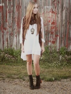 White Chiffon Shift Dress With Slip Sleeves #choies #dress #white #fashion