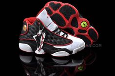 huge selection of c0b73 840ab Women Nike Air Jordan 13 Retro White Sport Red Black Sneakers 88