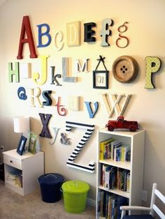 Love this idea for a nursery....everyone bring a decorated letter to the baby shower. Then there is a little of everyone you care about with the baby.