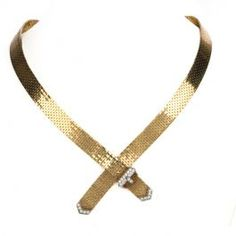 Vintage Diamond Yellow Gold Belt Bolo Tie Necklace  #vintagejewelry #diamonds #gold #goldnecklace #consignment