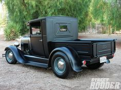 Check out this fully loaded and fully restored 1929 Ford Model A pickup truck! It features a Chevy 350ci crate engine, an Edelbrock Vortec manifold, 600-cfm carb, a Mooneyes Kalifornia Mushroom air cleaner, a 200-4R transmission, and much more! Check out further vehicle specs and pictures at Street Rodder Magazine.