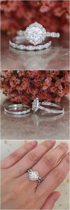 Forever One Moissanite Engagement Ring and Scalloped Diamond Wedding Band Bridal Set 14k White Gold 6x6mm Cushion Mini Vintage Floral Ring / http://www.deerpearlflowers.com/floral-inspired-engagement-rings/