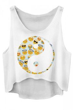Yin Yang Emoji White Crop Top - Fresh-tops.com