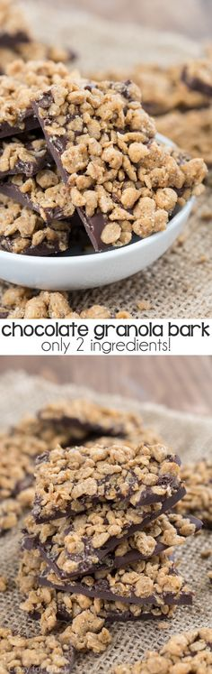 Easy 2 ingredient Chocolate Granola Bark made with chocolate and your favorite granola!