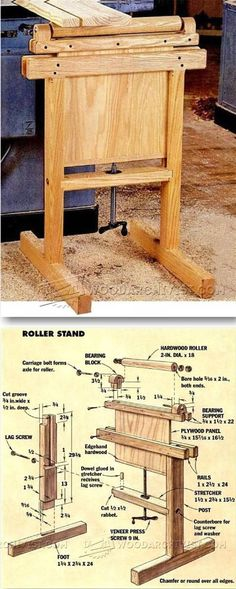Roller Stand Plans - Workshop Solutions Plans, Tips and Tricks | WoodArchivist.com #WoodworkingTools