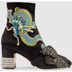Gucci Dragon satin mid-heel ankle boot ❤ liked on Polyvore featuring shoes, boots, ankle booties, embroidered boots, bow booties, gucci bootie, mid heel boots and bow boots