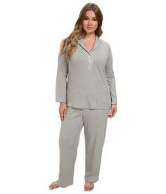LAUREN Ralph Lauren Plus Size Hartford Lounge PJ Set with Quilted Collar (Grey Heather) Women's Pajama Sets