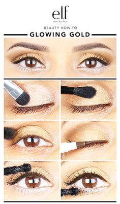 Blog | beauty how-to: GLOWING GOLD | e.l.f. Cosmetics Makeup For Brown Eyes