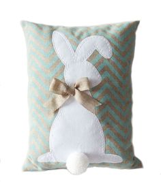 Burlap Easter Bunny Pillow-Blue