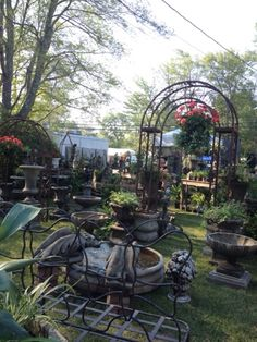 Brimfield Flea Market in July is HOT and sort of quite with a lot  fewer dealers.     This dealer sells the most wonderful garden fountains...