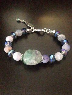Pulsera turmalina, perla azul, cristal alemán 10mm azul