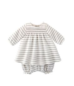 Baby girl dress and bloomers set in shiny sailor stripes Lait white / Lurex Argent grey - Petit Bateau