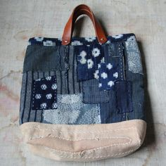 Antique japanese sashiko stitched indigo and sakabukuro boro kasuri tote bag on Etsy