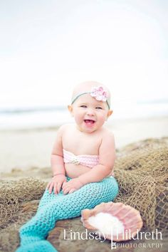 Baby mermaid - beach - baby photography - the Lilly mermaid