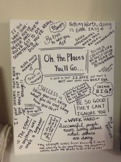 Inspirational canvas made for a graduation present. Motivational quotes