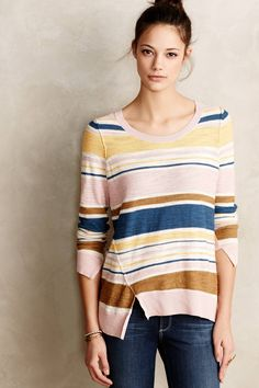 Split Stripe Pullover - anthropologie.com