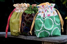 Lined drawstring bags